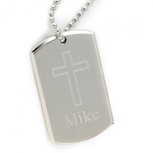 JDS Large Inspirational Dog Tag with Engraved Cross