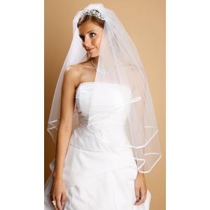 Mariell 2-Tier Circular Cut Wedding Veil with Folded Satin Ribbon Edging