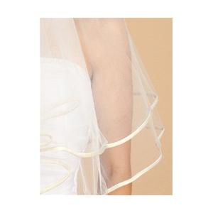 Mariell 2-Tier Circular Cut Wedding Veil with Folded Satin Ribbon Edging: Ivory
