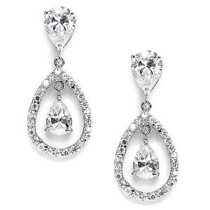Mariell Cubic Zirconia Caged Teardrop Wedding Earrings