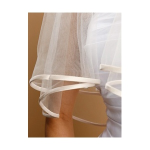 Mariell 2-Tier Circular Cut Wedding Veil with Folded Satin Ribbon Edging: Rum Taupe