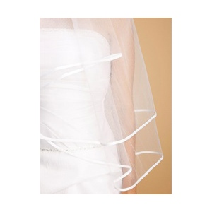 Mariell 2-Tier Circular Cut Wedding Veil with Folded Satin Ribbon Edging: White