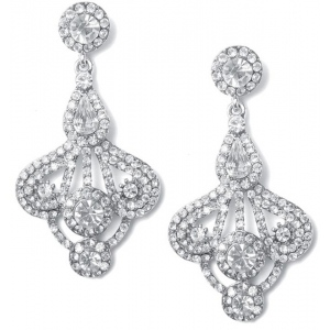 Mariell Art Deco Fan Rhinestone Earrings