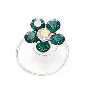 Mariell Prom Or Bridesmaid Crystal Flower Hair Spirals: Emerald
