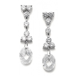 Mariell CZ Bridal Earrings with Faceted Crystal Drops