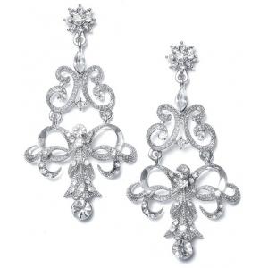 Mariell Vintage Ribbon Crystal Chandelier Earrings