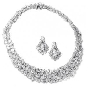 Mariell Ravishing Cubic Zirconia Wedding Necklace Set