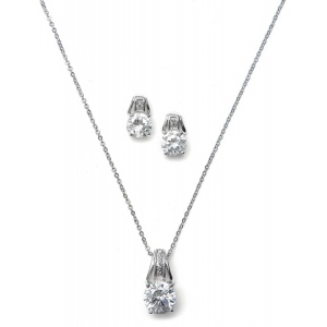 Mariell CZ Art Deco Bridal Necklace Set