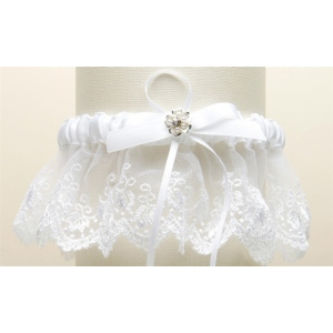 Mariell Embroidered White Lace Scalloped Garter with Brushed Silver Flower