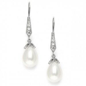 Mariell Vintage French Wire Wedding Earrings with Pearl Teardrops with CZ Pave