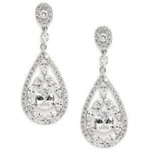 Mariell Cubic Zirconia Mosaic Teardrop Bridal, Prom Or Wedding Earrings