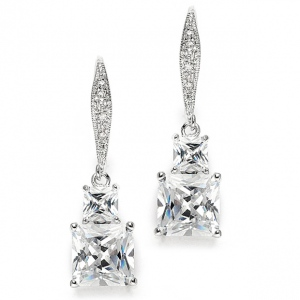 Mariell Princess Cut CZ Vintage Wedding Or Bridesmaids Drop Earrings