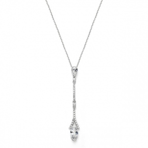 Mariell Delicate Cubic Zirconia Linear Wedding Or Bridesmaids Necklace