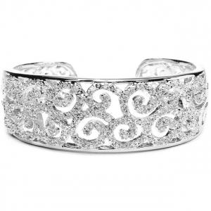 Mariell Jewel Encrusted Cubic Zirconia Scrolls Bridal Cuff Bracelet