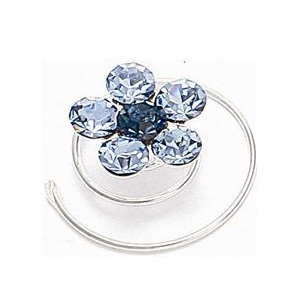 Mariell Prom Or Bridesmaid Crystal Flower Hair Spirals: Light Sapphire