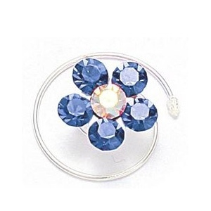 Mariell Prom Or Bridesmaid Crystal Flower Hair Spirals: Sapphire