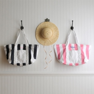 JDS Personalized Beach Tote Bag: Candy Striped