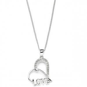 "Mariell Wedding Or Bridesmaids Gift Heart Shaped ""Love"" Necklace with Cubic Zirconia"