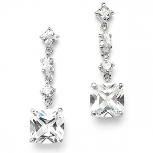 Mariell Ravishing Cubic Zirconia Bridal Earrings with 2.5 Ct. Cushion Cut Dangles
