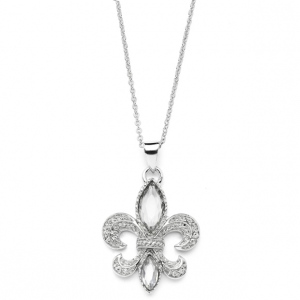 Mariell Fleur De Lis Necklace with Cubic Zirconia & Faux Crystal