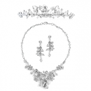 Mariell Top-Selling Handmade Tiara, Necklace & Earrings Set with Genuine Crystals