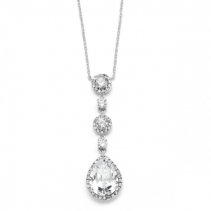 Mariell Best-Selling Pear-Shaped Drop Bridal Necklace with Pave CZ
