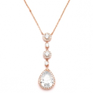 Mariell Best-Selling Rose Gold Bridal Necklace with Pear-Shaped CZ Drop