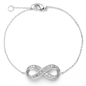 Mariell Delicate Rhodium Chain Wedding Bracelet with Cubic Zirconia Infinity Symbol