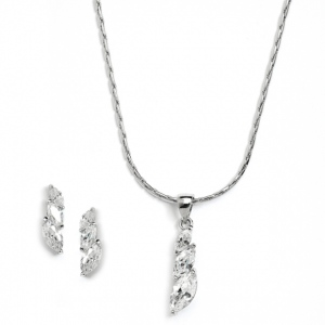 Mariell Elegant CZ Marquis Trio Necklace & Earrings Set for Prom Or Bridesmaids