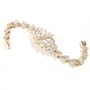 Mariell Petite Size Gold Bridal Bracelet with Marquis Cubic Zirconia Cluster
