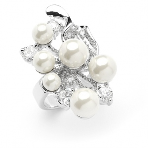Mariell Bold Cubic Zirconia Wedding Cocktail Ring with Light Ivory Pearl Bubbles: 7""
