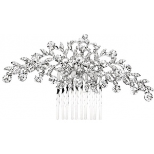 Mariell Popular Crystal Wedding Or Prom Comb with Shimmering Leaves