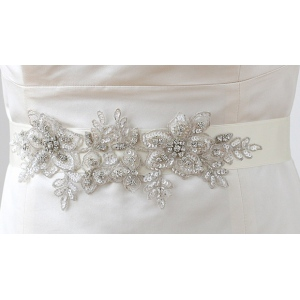 Mariell Breathtaking Handmade Sash of European Crystal Beaded Applique