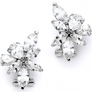Mariell Gorgeous CZ French Pierced Cluster Wedding Earrings