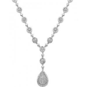 Mariell Luxurious Pave CZ Wedding Necklace