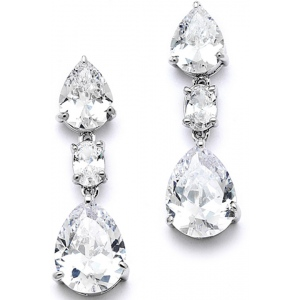 Mariell Shimmering Double Pear CZ Bridal Or Bridesmaids Earrings