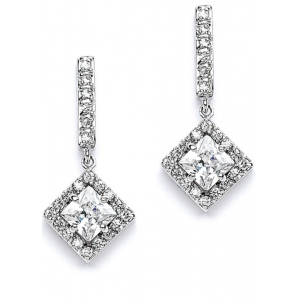 Mariell Retro Glam CZ Square Cut Wedding Earrings