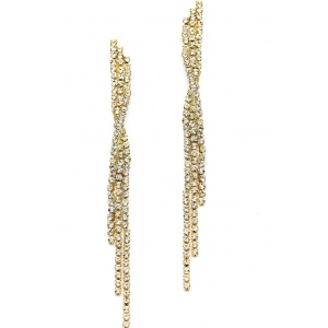 Mariell Popular Dangling Gold Rhinestone Prom Earrings with Graceful Twist
