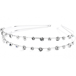 Mariell 2-Row Prom Or Wedding Headband with Round Crystals