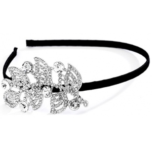 Mariell Black Satin Prom Or Wedding Headband with Rhinestone Side Accent