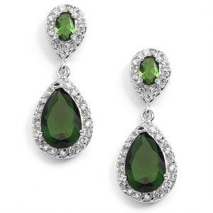 Mariell Top-Selling Emerald Cubic Zirconia Teardrop Wedding Or Bridesmaids Earrings
