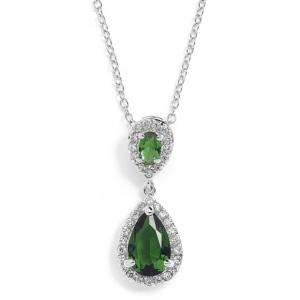 Mariell Top-Selling Emerald Cubic Zirconia Teardrop Wedding Or Bridesmaids Pendant