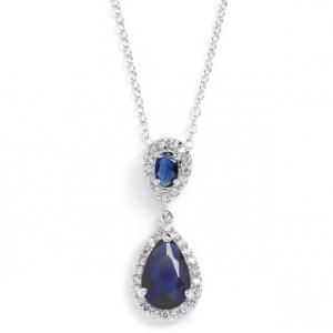 Mariell Top-Selling Sapphire Cubic Zirconia Teardrop Wedding Pendant