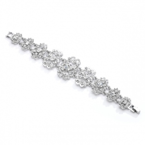 Mariell Gorgeous Crystal Wedding Or Prom Bracelet with Vintage Scrolls