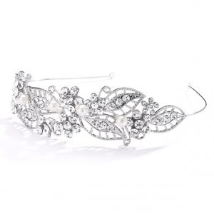 Mariell Antique Filigree Wedding Headband Or Bridal Tiara with Leaves and Pearls