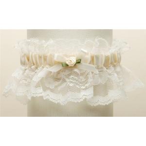Mariell Hand-Sewn Vintage Lace Wedding Garters: Ivory