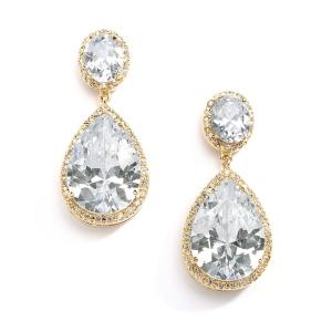 Mariell Best-Selling Gold CZ Pear-Shaped Drop Bridal Earrings