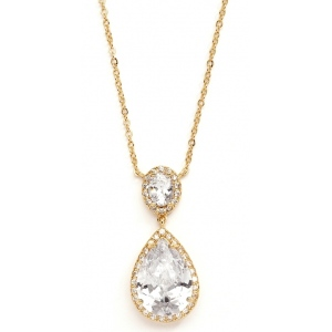 Mariell Couture Cubic Zirconia Pear-Shaped Bridal Necklace