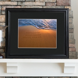JDS Personalized Print with Wood Frame: Sparkling Sands