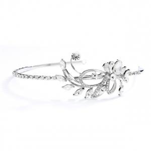 Mariell Crystal & Rhinestone Abstract Side Design Wedding Or Prom Headband